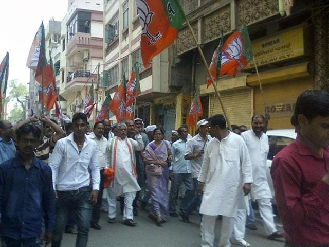 BJP workers protest against the state government in Gaya over the killing of Aditya Sachdeva, the teenaged son of a city businessman.