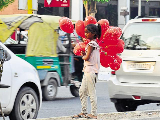A visit to some prominent places, like the markets of Sectors 15, 17, 35 and 22, reveals that such children are now made to beg under the guise of selling balloons.