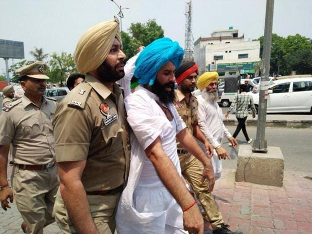 Bains and his supporters were protesting against cable operator network for suspending services of a satellite Punjabi news channel.