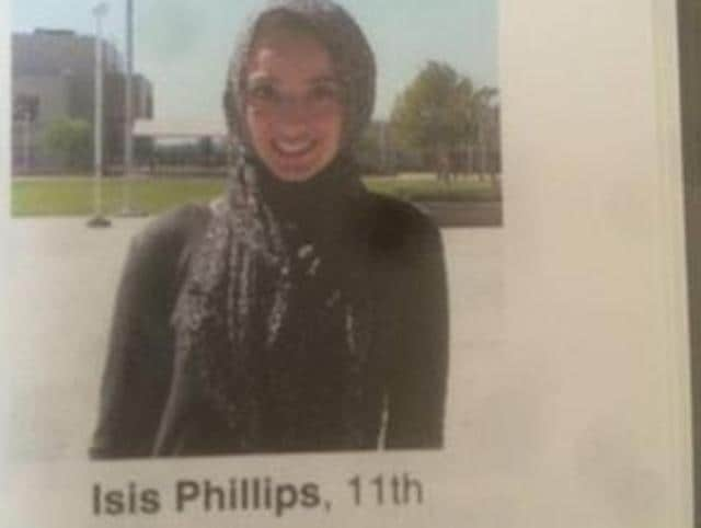 Bayan Zehlif was embarrassed and distressed after a picture of her wearing an Islamic head scarf, or hijab, appeared in her high school yearbook with the false name Isis Phillips.