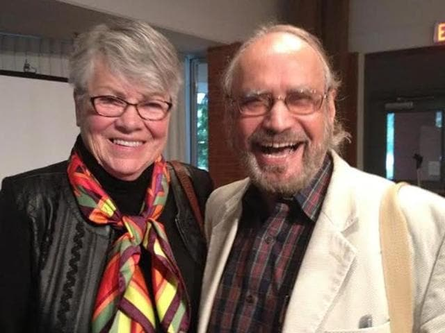 Canadian playwright Sharon Pollock (left) with Vancouver-based poet and translator of the book into Punjabi Ajmer Rode (right).