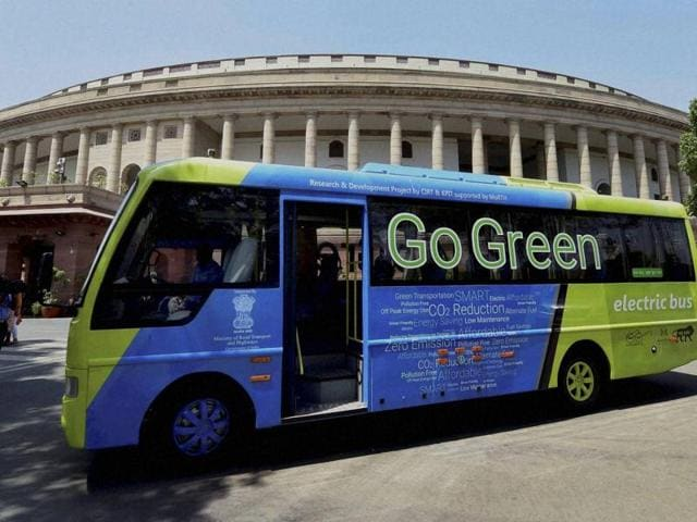 An electric bus that ferries lawmakers to Lok Sabha at Parliament House. Delhi Transport Corporation will run 25 electric buses that are likely to be procured by July.