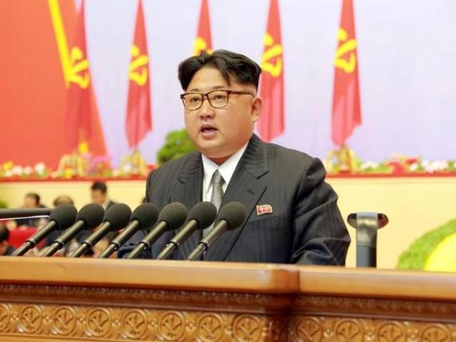 North Korean leader Kim Jong Un speaks during the first congress of the country's ruling Workers' Party in Pyongyang.