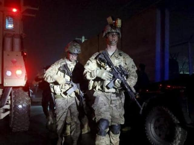 US troops arrive at the site of an explosion in Kabul.