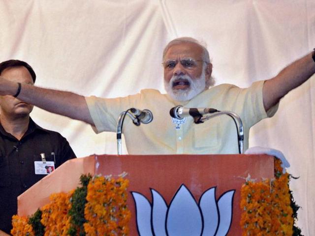 Prime Minister Narendra Modi address an election rally at Thiruvananthapuram in Kerala.