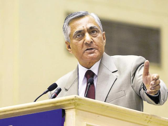 The Chief Justice of India, TS Thakur, during the inauguration of the Joint Conference of CMs and Chief Justices of HCs at Vigyan Bhawan in New Delhi.