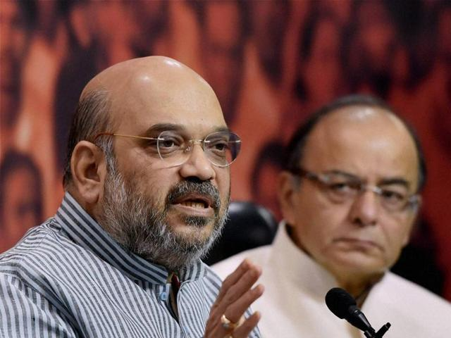 BJP president Amit Shah and finance minister Arun Jaitley during a press conference at the BJP headquarters in New Delhi on Monday.