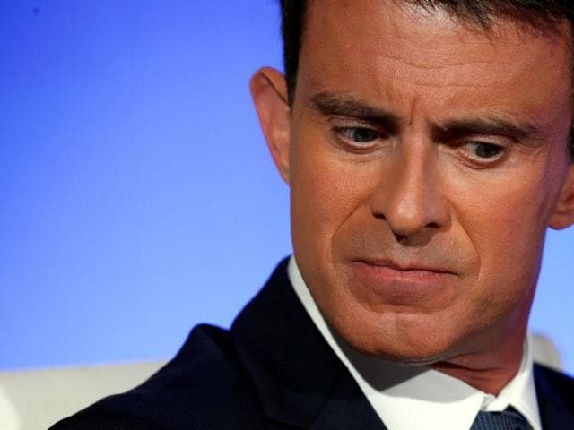 French PM Manuel Valls at a news conference following a government meeting on radicalisation and the fight against terrorism in Paris on Monday.