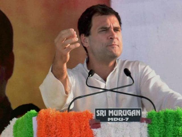 Congress Vice President Rahul Gandhi addressing an election rally in Madurai.