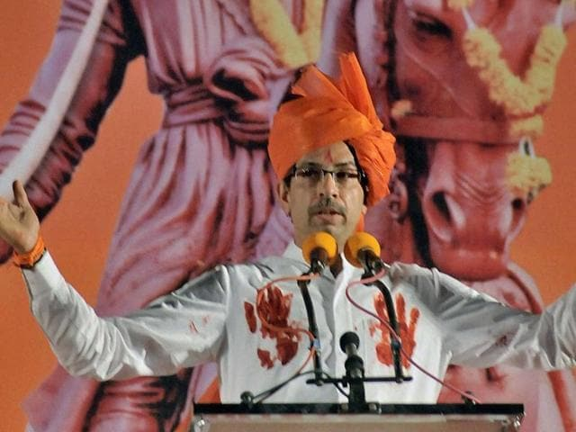 Shiv Sena chief Uddhav Thackeray in a rally on Sunday. His party, through an editorial, on Monday attacked the BJP for targeting the Congress top brass over the AgustaWestland deal.