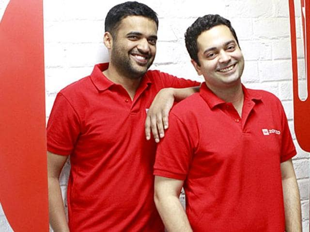 Zomato founders Deepinder Goyal and Pankaj Chaddah at their office in Gurgaon. (Sanjeev Verma/ HT Photo)