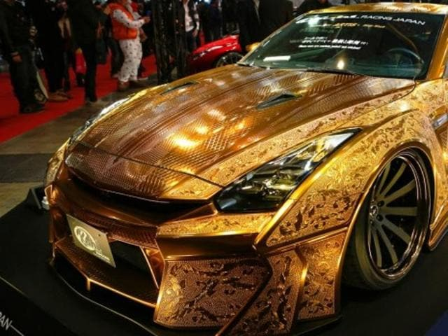 $1m gold-plated, customised Nissan R35 GT-R showcased at Dubai.