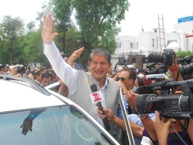 Harish Rawat, the sacked chief minister of Uttarakhand,  after the floor test in the assembly on May 10, 2016.