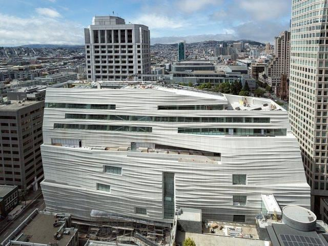 A view of the new part of the San Francisco of Modern Art's building, which reopens after a three-year expansion on May 14.