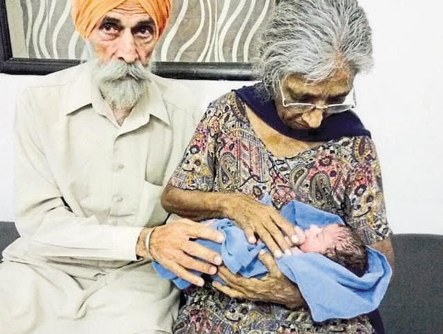 Mohinder Singh Gill and his wife Daljinder Kaur are now parents of Arman Singh. HT photo