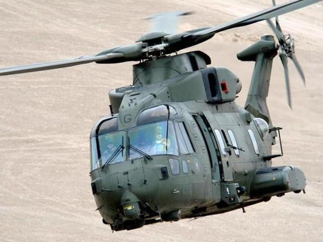 A photo of AgustaWestland AW101 chopper, configured to meet diverse roles for pre-dominantly maritime and utility tasks.