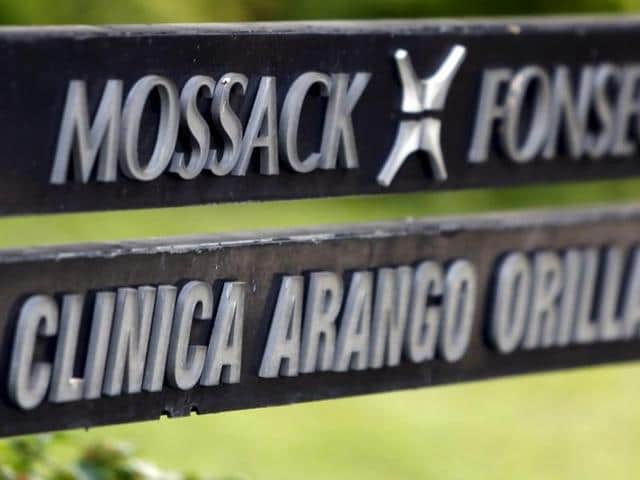 A company list showing the Mossack Fonseca law firm is pictured on a sign at the Arango Orillac Building in Panama City in this file photo.