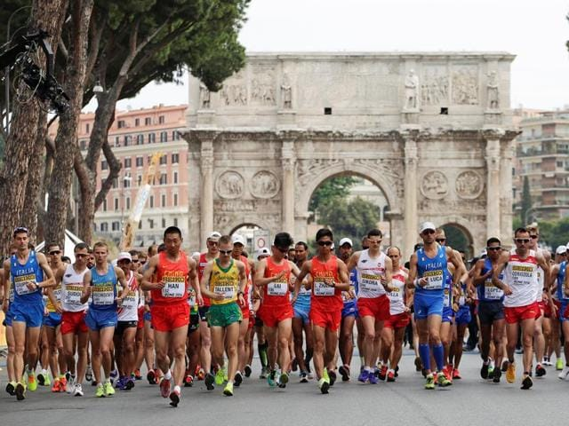 Alex Schwazer of Italy won the 50 kilometres race walk at the World Race Walking Team Championships in Rome on May 8, 2016.