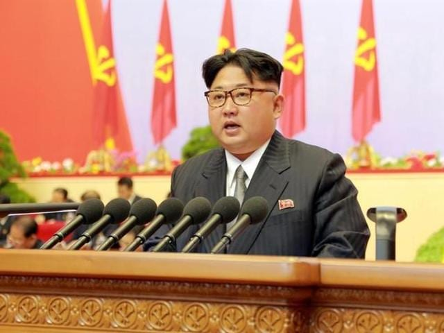 North Korean leader Kim Jong Un speaks during the first congress of the country's ruling Workers' Party in 36 years, in this photo released by North Korea's Korean Central News Agency (KCNA) in Pyongyang.