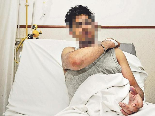 One of the injured students in hospital. Both victims were discharged after treatment.