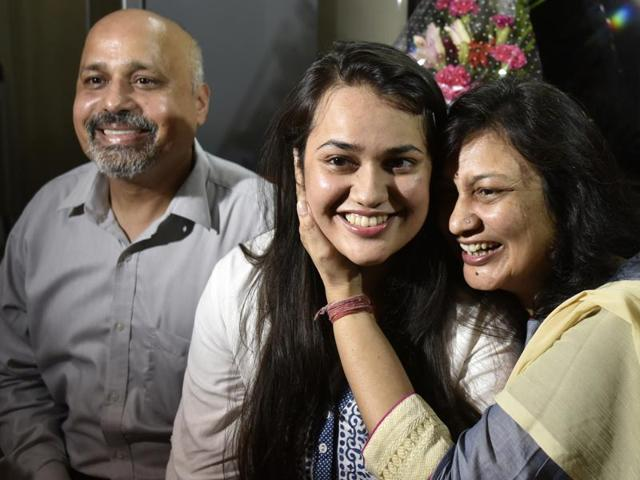 Tina Dabi with her proud parents in their central Delhi residence.