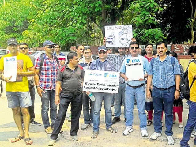 Apartment buyers protest at the mini secretariat in Gurgaon on Sunday.