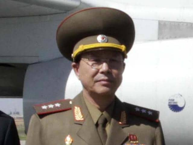 Ri Yong Gil, then North Korean military chief, poses for a photo before leaving Pyongyang Airport, North Korea.
