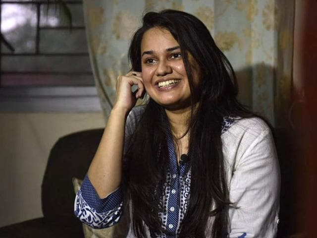 22-year-old Tina Dabi who topped the civil services exams in her first attempt speaks to the media from her residence in New Delhi.(Ravi Choudhary/HT Photo)
