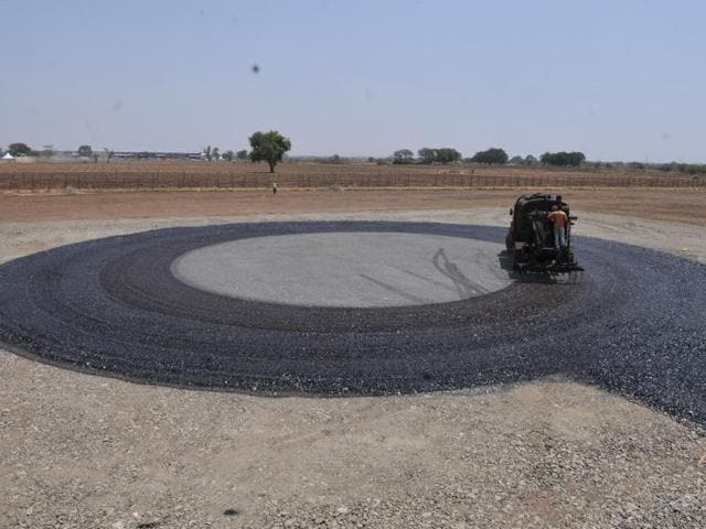Eight helipads, each costing at least Rs 8 lakh are being constructed on agriculture land in Ninora village for Vichar Mahakumbh - a three-day event organised by state government.