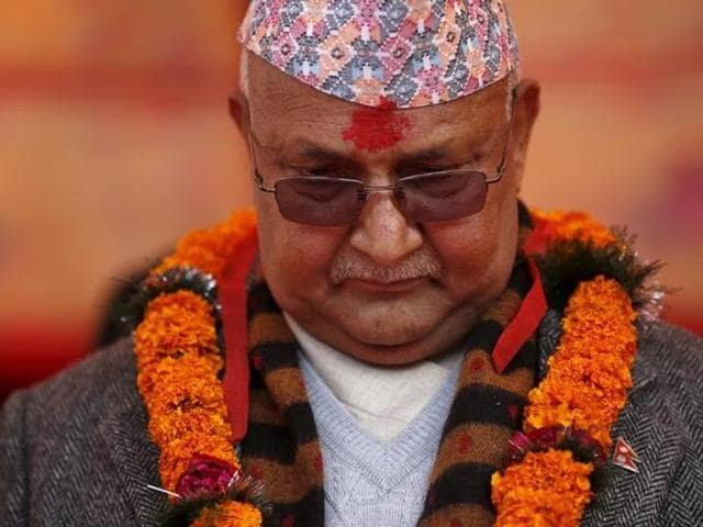 In this file photo, Nepal's Prime Minister Khadga Prasad Sharma Oli, also known as KP Oli, observes a minute of silence for earthquake victims in the country.(Reuters)