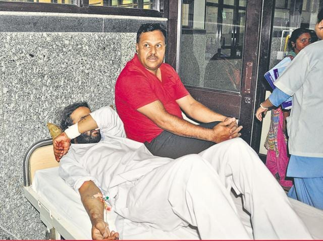 Accused Ravi Pujari at a hospital in Panchkula on Monday.