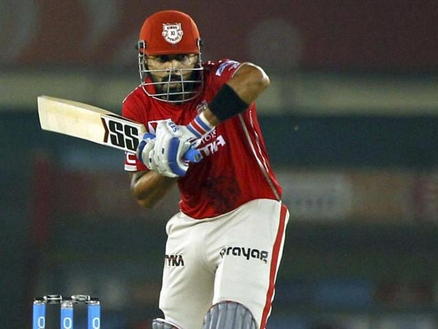 Kings XI Punjab captain Murali Vijay plays a shot during the IPL match against Delhi Daredevils in Mohali on May 7, 2016.