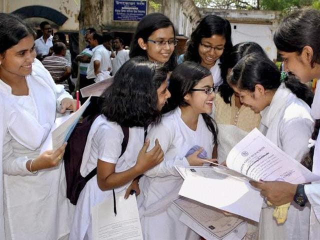 Students in Bankura celebrate after the results to West Bengal Board of Secondary Education's Class 10 examination were declared.