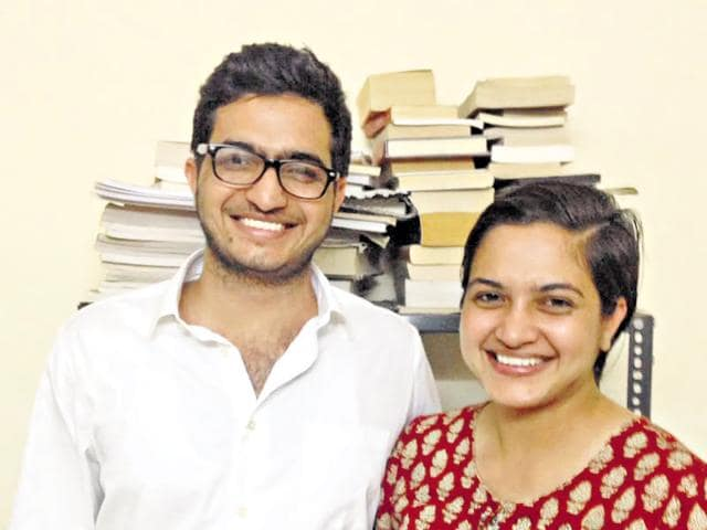 Shalini and Alekh Duhan at their apartment in New Delhi after clearing the UPSC exam on Tuesday.
