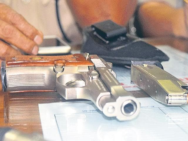 The silver Beretta pistol of Rocky Yadav that was said to be used in the crime.