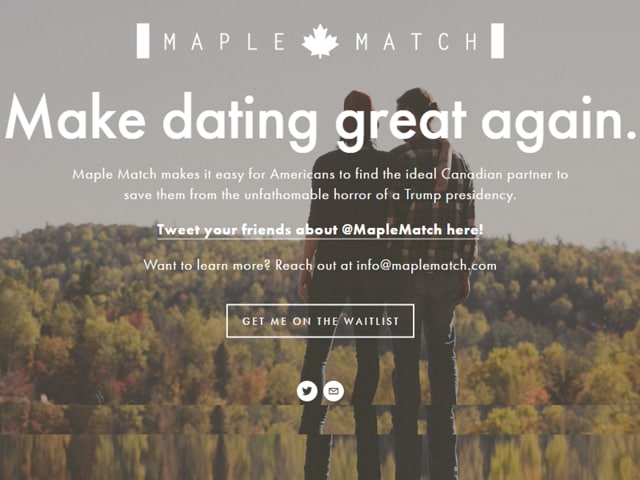 Maple Match is facilitating match making for those UScitizens pledging to leave the country if Trump becomes the president with the Canadians.