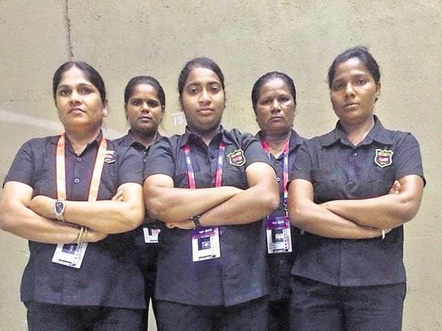 Sakina Shaikh (extreme right) with fellow bouncers. Female bouncers earn up to `50,000 a month.