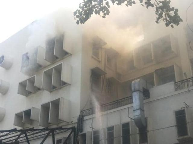 A fire broke out in the Times of India building in central Delhi's ITO area on Wednesday .