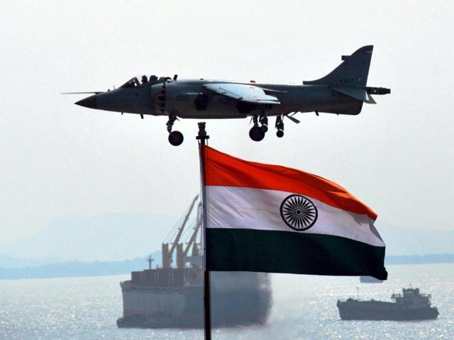 INS Viraat with the compliment of fighters