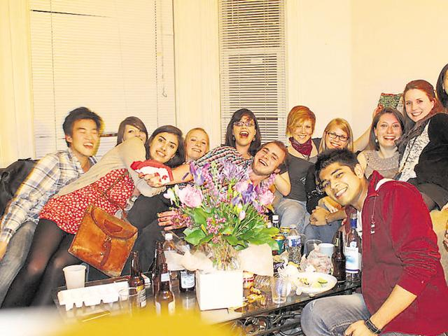 Darshan Furia (in red, centre), with his classmates at York University, Canada, while on a 10-month exchange programme in 2011.
