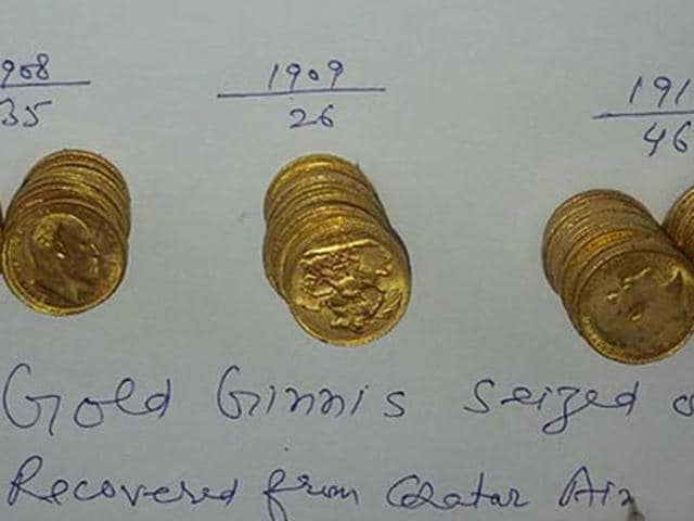 The gold coins recovered by Amritsar customs officials at Sri Guru Ram Dass Jee International Airport in Amritsar on Wednesday.
