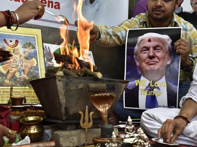 Hindu Sena organised a hawan in support of Donald Trump at Jantar Mantar in New Delhi on Wednesday.