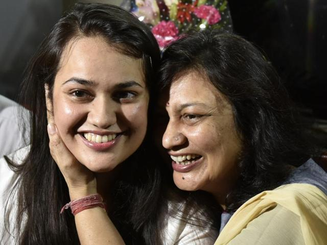 UPSC topper Tina Dabi's mother Hemali (right) says, she did not force her to study science, despite coming from a family of engineers.
