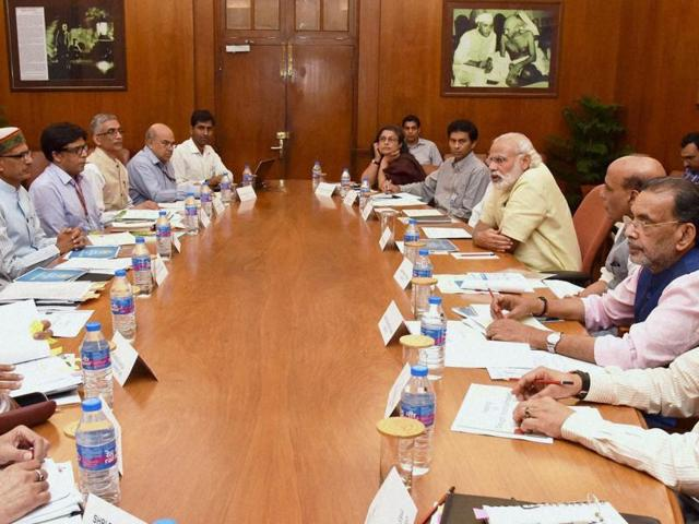 Prime Minister Narendra Modi participates in a high-level meeting to discuss on the drought situation, in New Delhi on Tuesday.