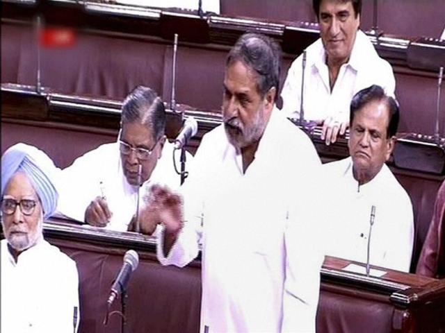 Congress member Anand Sharma speaks in the Rajya Sabha in New Delhi on Tuesday.