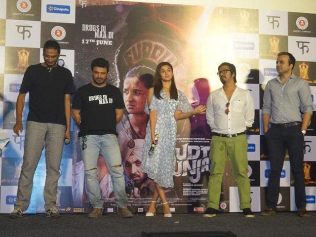 Filmmaker Abhishek Chaubey, Vikas Bahl, Alia Bhatt, music composer Amit Trivedi and CEO of Balaji Motion Pictures Aman Gill during the song launch of Ikk Kudi from upcoming film Udta Punjab in Mumbai on May 11, 2016.