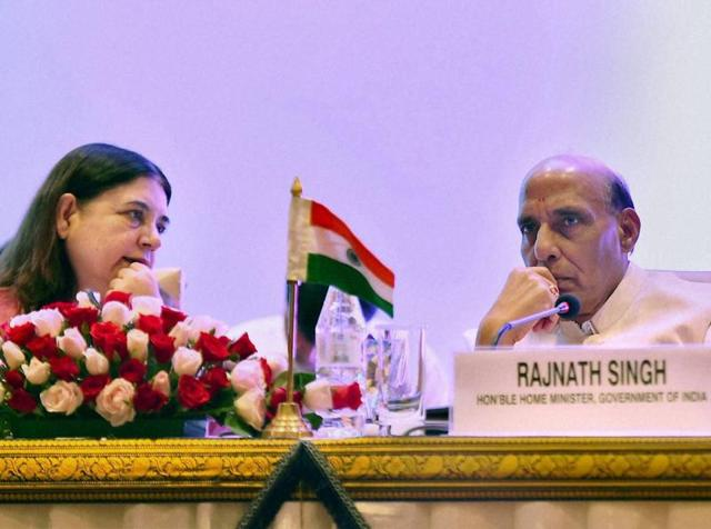 Union home minister, Rajnath Singh with Union minister for women and child development, Maneka Sanjay Gandhi during the 4th Ministerial Meeting of South Asia Initiative to End Violence Against Children in New Delhi on Wednesday.