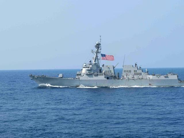 In this March 30 US Navy handout photo, the guided missile destroyer USS William P Lawrence (DDG 110) transits the Philippine Sea.