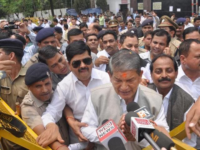 Former Chief Minister Harish Rawat after the end of crucial Uttarakhand Assembly floor test, at party office in Dehradun on Tuesday, May 10, 2016.