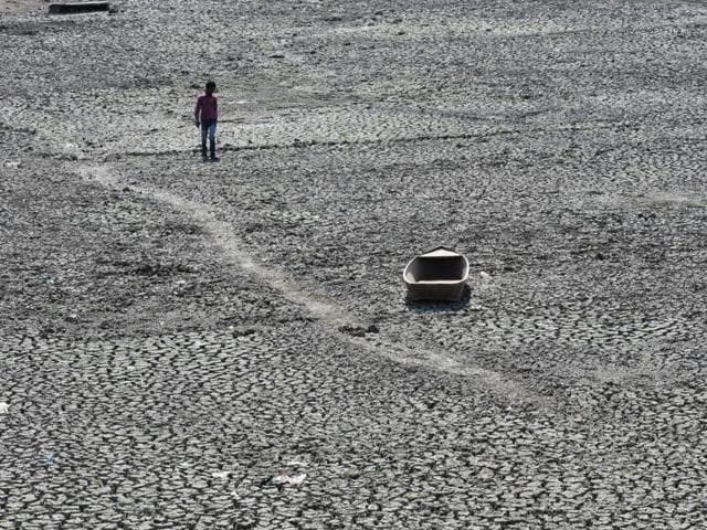 Dried up lake of Prithvipur town in drought hit Bundelkhand.